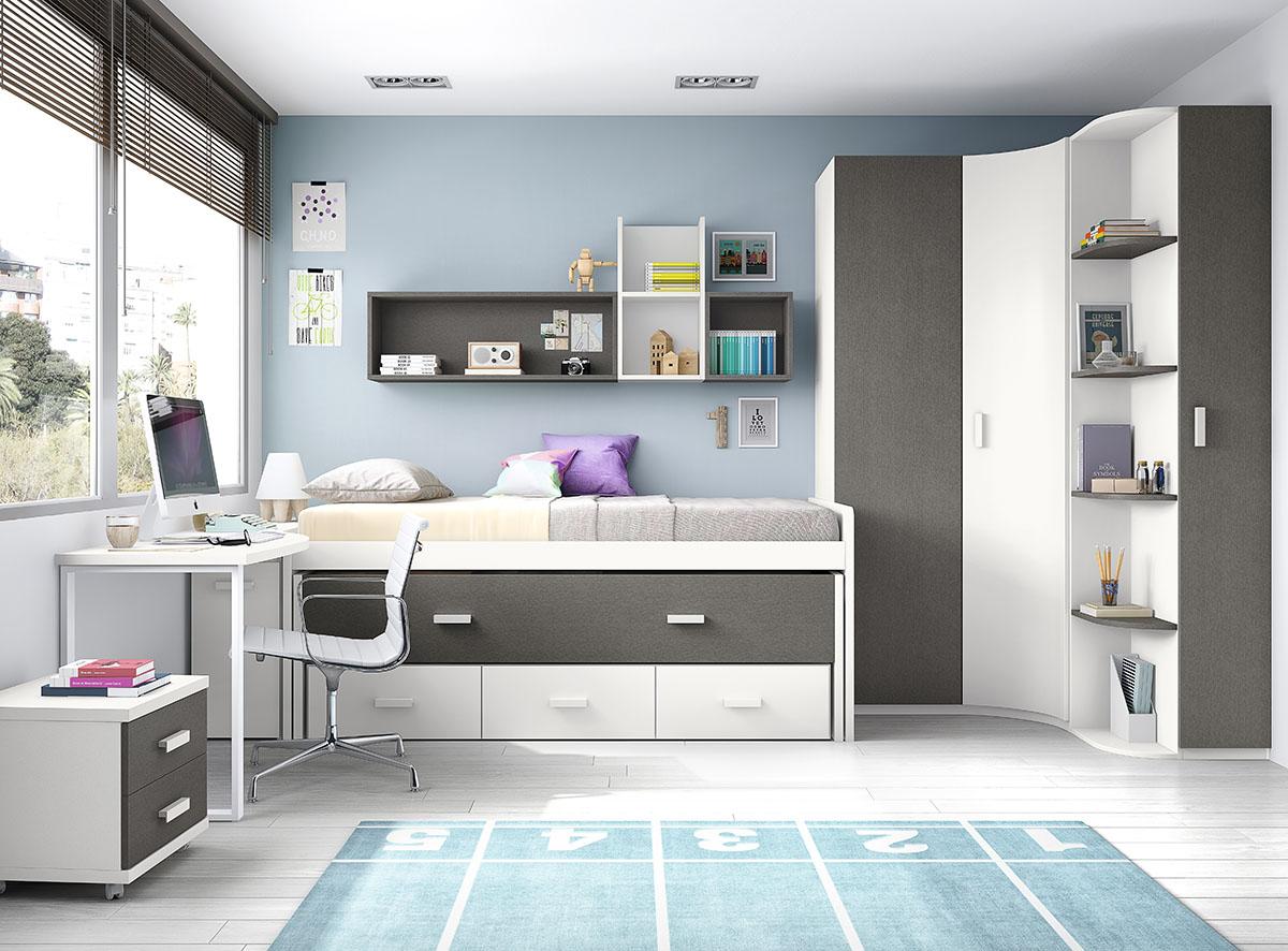 Dormitorios juveniles muebles rogelio gurrea for Camas infantiles diseno moderno